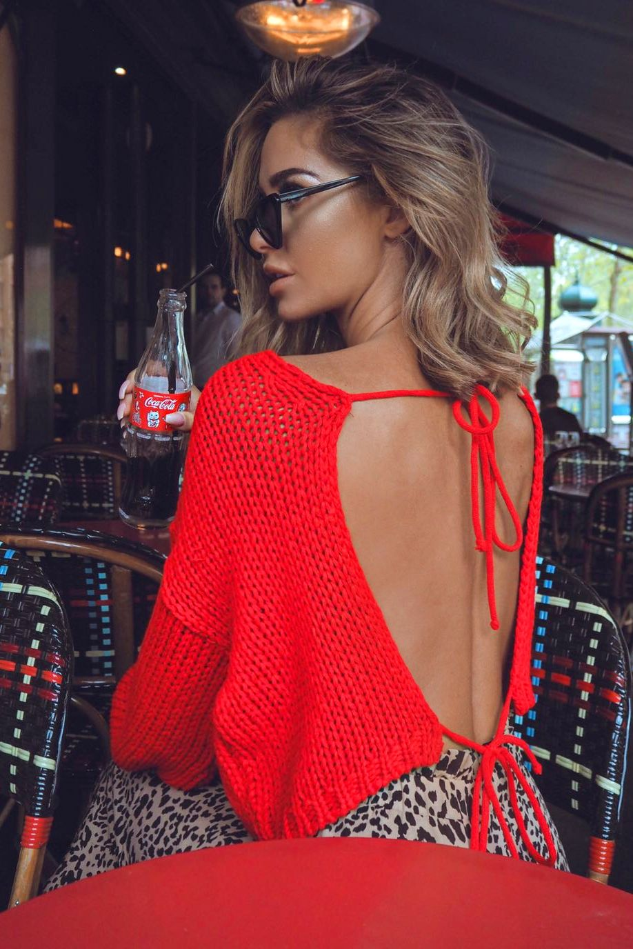 Red tie back cropped jumper