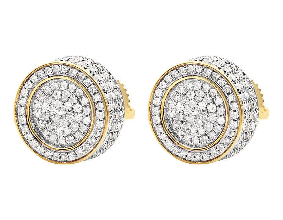 Unisex 10k Yellow Gold Finish 3d Pave Set Round Diamond Stud Earrings 1 20ct Aonebianco Stud Gold Price Gold Cost Fashion Jewelry