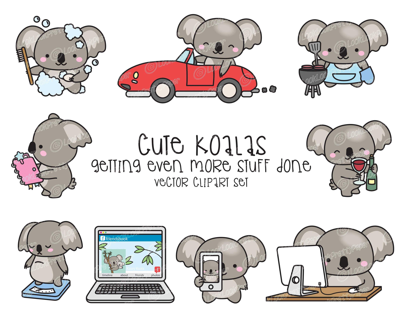 Premium Vector Clipart Kawaii Koala Cute Koala Planning