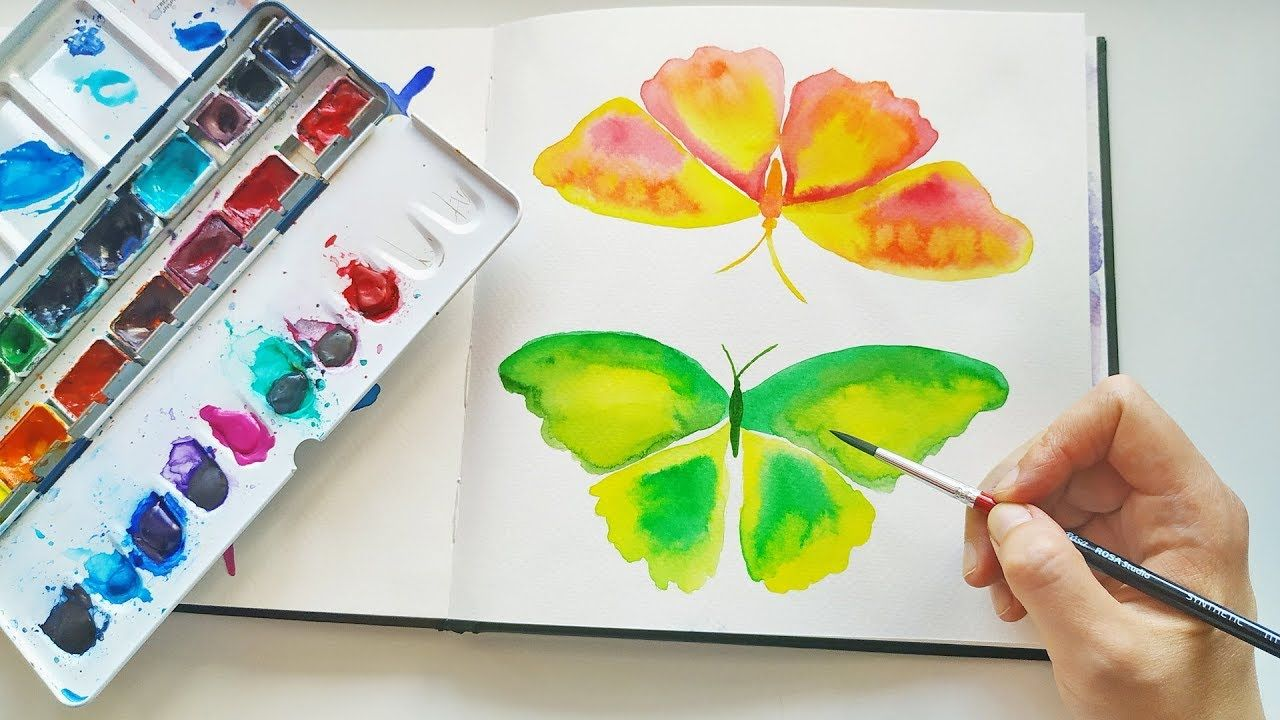 How To Paint Colorful Butterfly Diy Watercolor Art Ideas Asmr