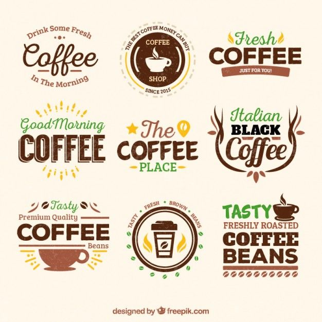 Download Retro Coffee Badges For Free Coffee Logo Logo Design Coffee Coffee Shop Logo