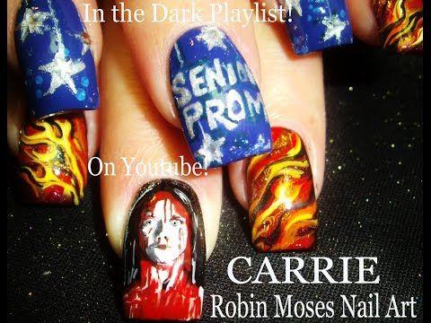2 Nail Art Tutorials | DIY Halloween Nails | Carrie - Horror Film Nail Design - YouTube