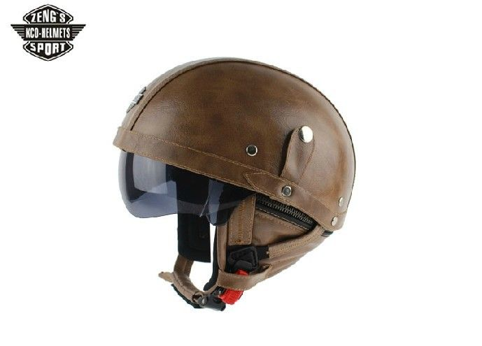 Aliexpress Buy KCO MOTORBIKE DOT Summer Half Helmets Black Leather Capacetes Vintage WWII