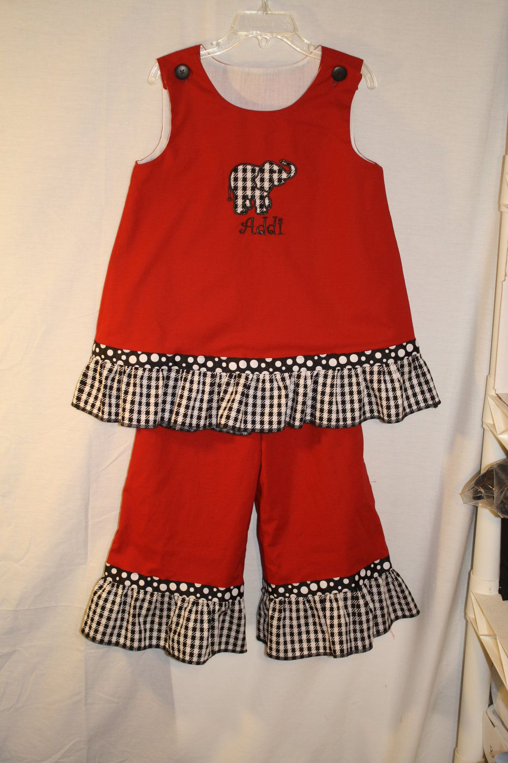 Custom Embroidered Appliqued Alabama Hounds tooth Elephant  A Line Top with Ruffle Pants Set. $54.00, via Etsy.