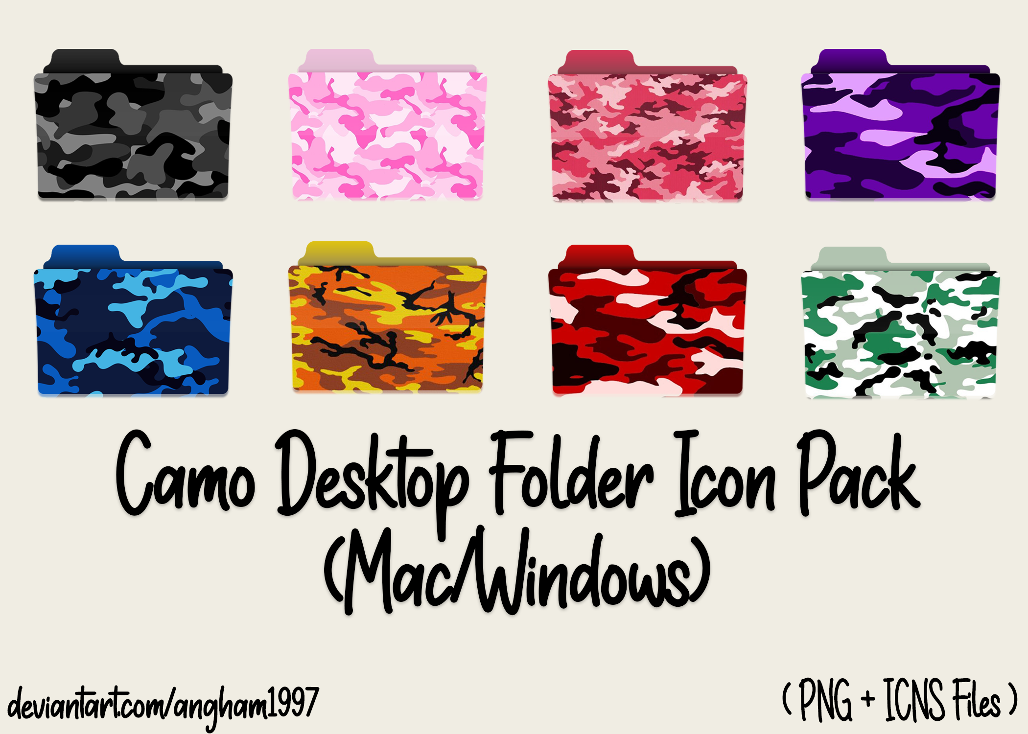 Camo Custom Desktop Folder Icon Pack in 2020 Folder icon