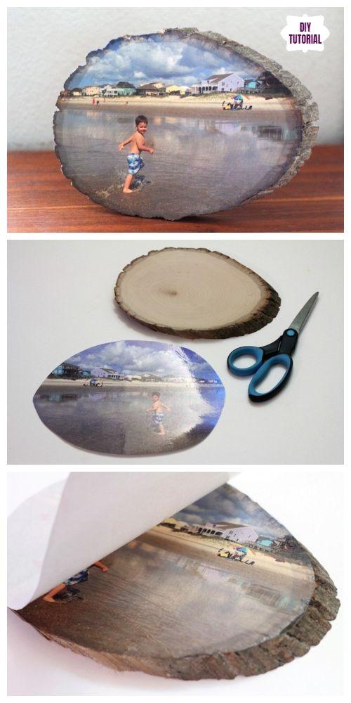 Easiest Way to Transfer Photo On Wood Slice DIY Tutorial - Video #diytutorial
