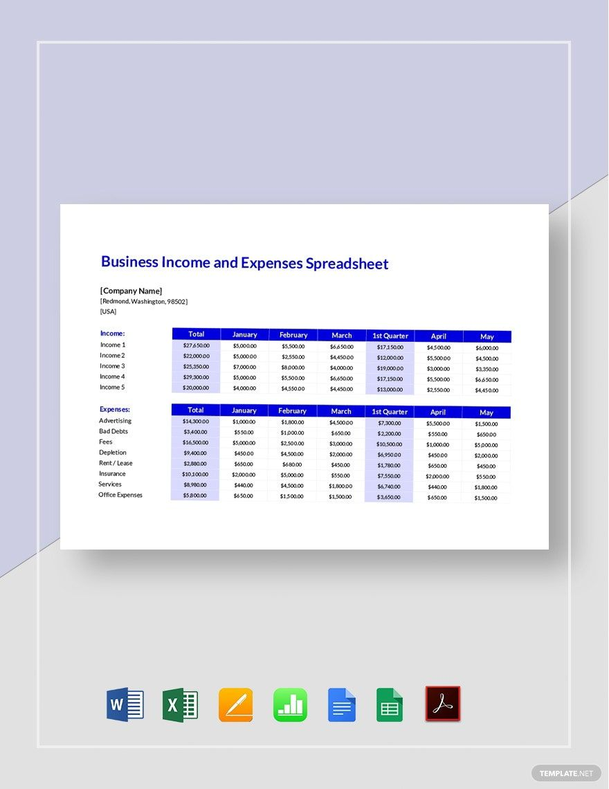 Small Business Income And Expenses Spreadsheet Template Word Excel Google Docs Apple Pages Google Sheets Apple Numbers Pdf In 2020 Spreadsheet Template Spreadsheet Templates