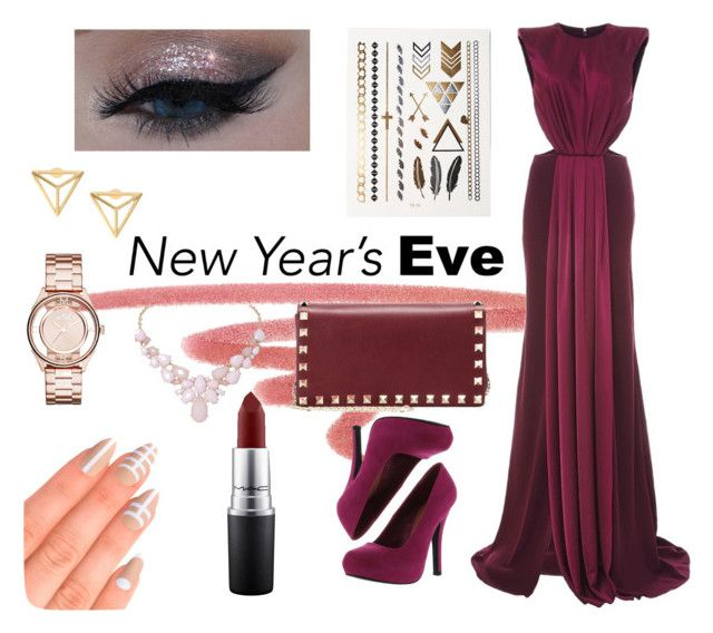 """""""New Year's Eve"""" by ritacardoso1398 on Polyvore featuring NARS Cosmetics, Monique Lhuillier, Valentino, MAC Cosmetics, Qupid, Humble Chic, Elegant Touch, Marc by Marc Jacobs, modern and happynewyear"""