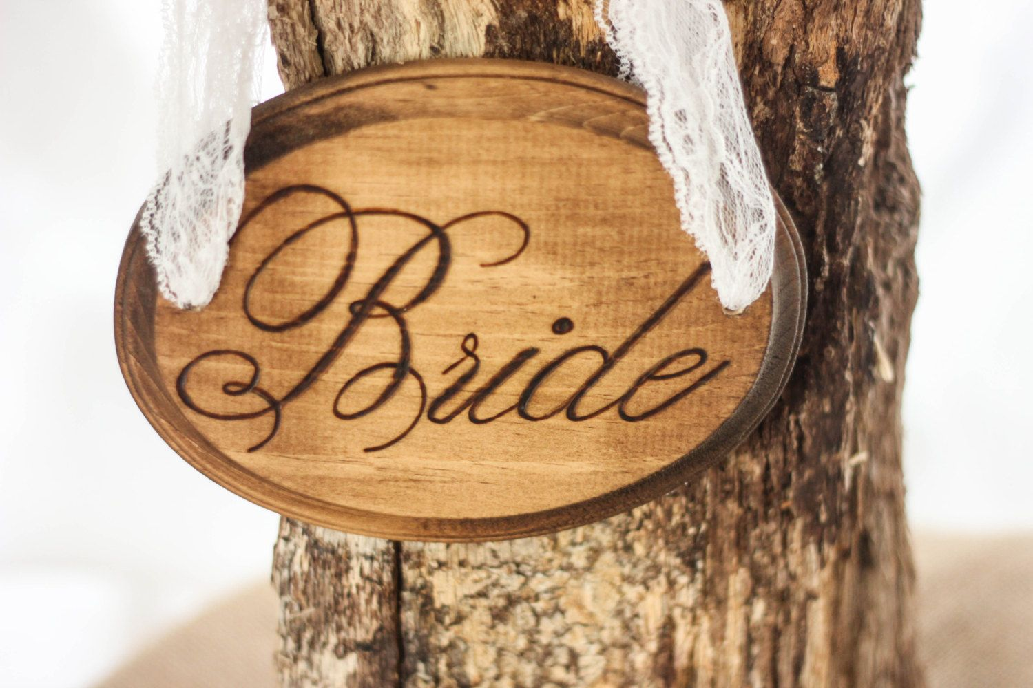 Rustic Wood Stained Bride Sign for Chairs by IslaGreyDesigns, $24.00