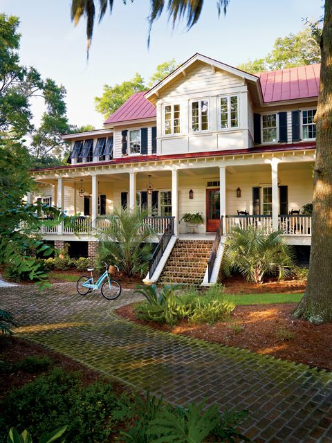 Vintage low country home love the first floor layout http for Low country house plans