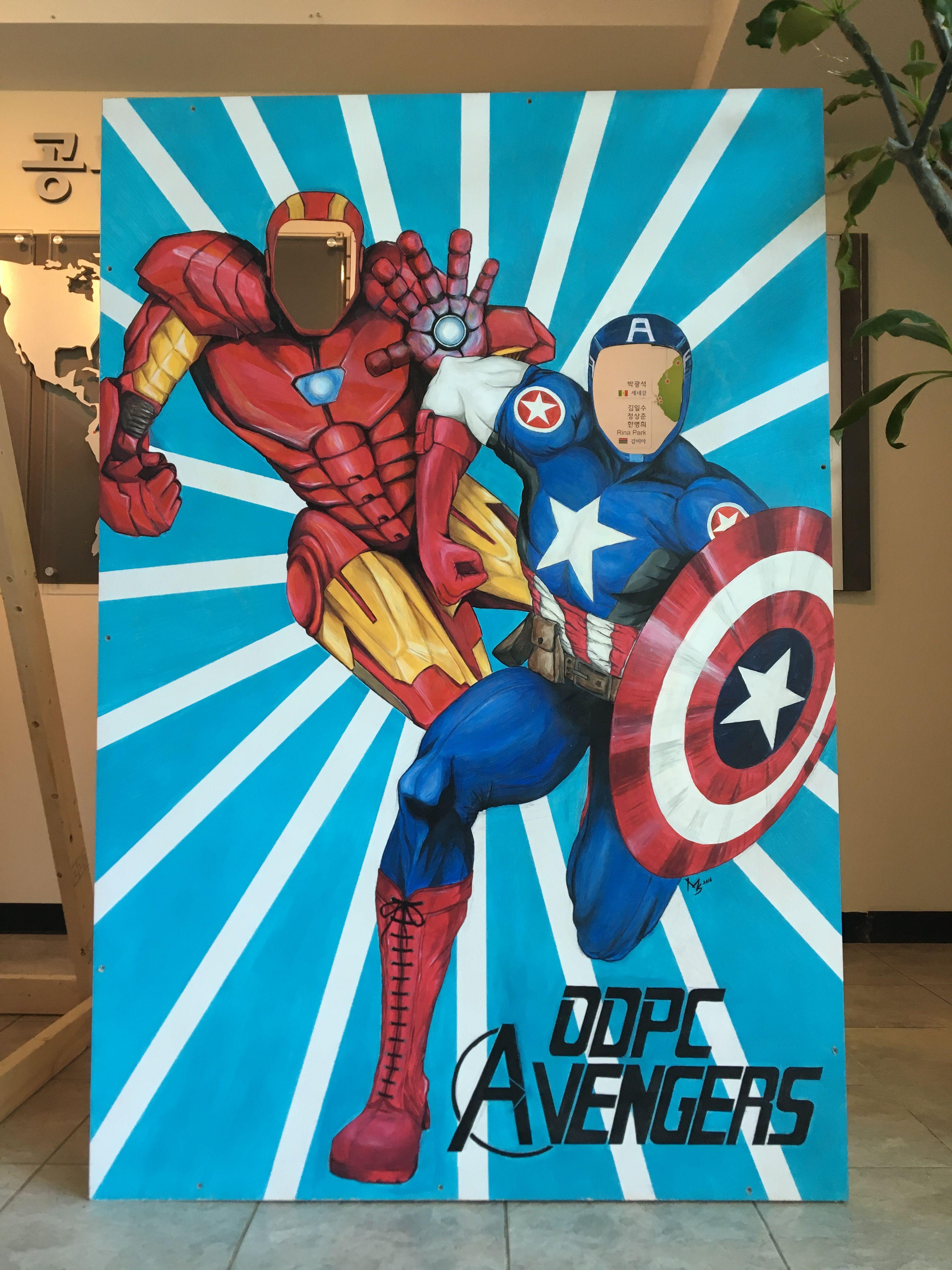 DIY Avengers face in hole photo board for carnival, church
