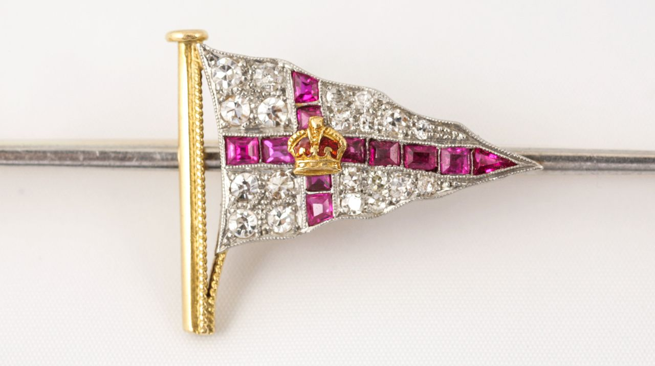Ruby, Diamond and Platinum Brooch of the Royal Yacht Squadron, ca. 1920.