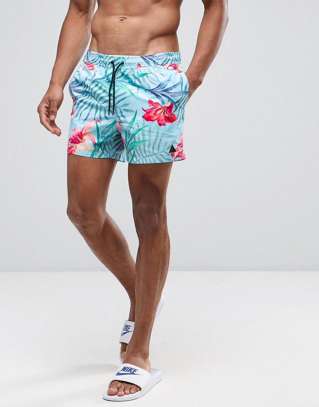 078e6aebf Swim Shorts With Floral Print With Triangle Logo In Short Length ...