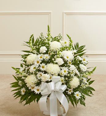 1800flowers Heartfelt Tribute White Floor Basket
