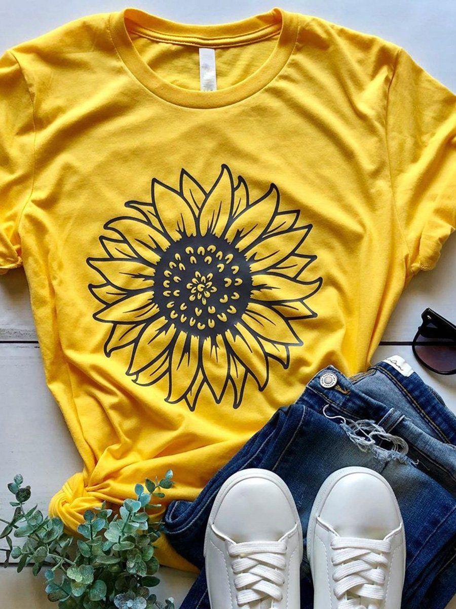 Shift Floral Short Sleeve Casual T-Shirts & Tees - Anniecloth