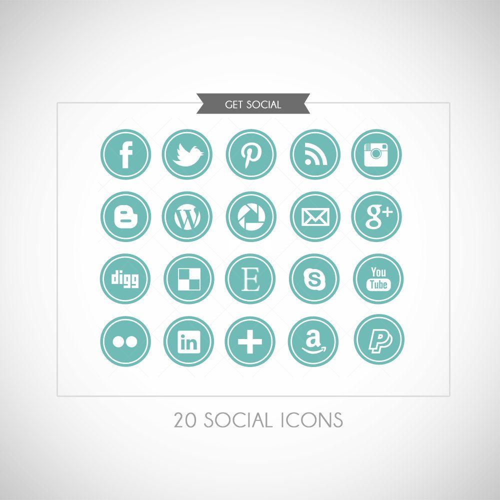 Social Media Icon Buttons Blog or Website. 6,00, via