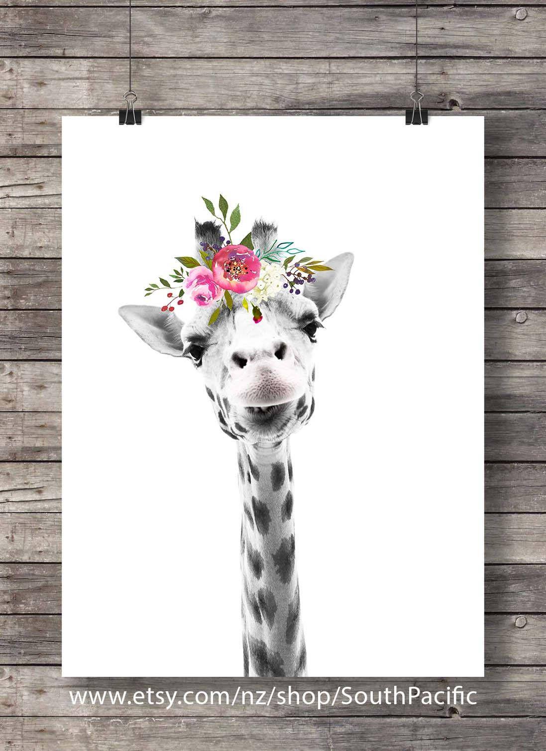 Printable Art Giraffe Art Print Cute Giraffe Face