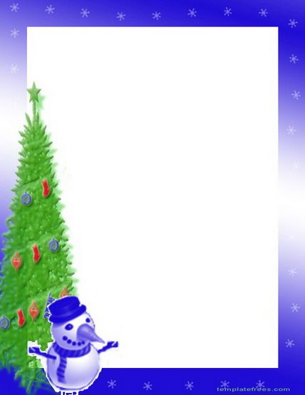 Free Printable Christmas Border With Bells, Bushes And Branches