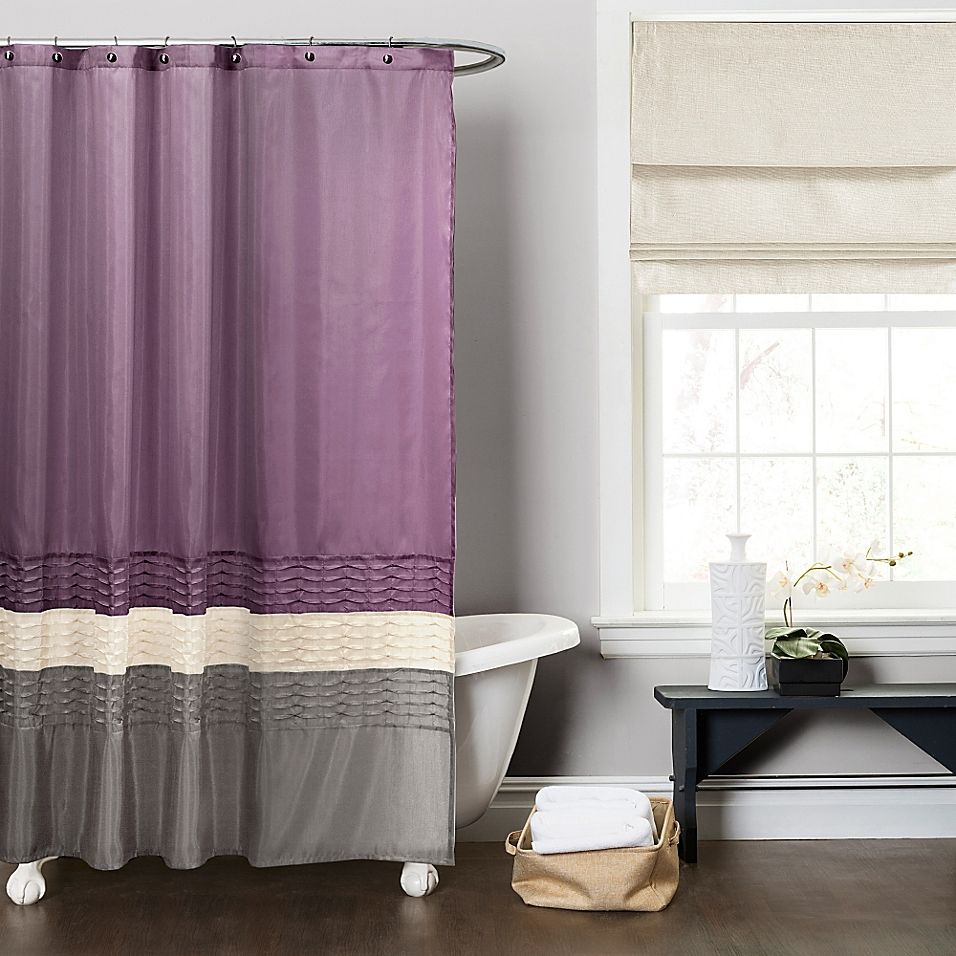 Mia Shower Curtain In Purple Grey In 2020 Gray Shower Curtains