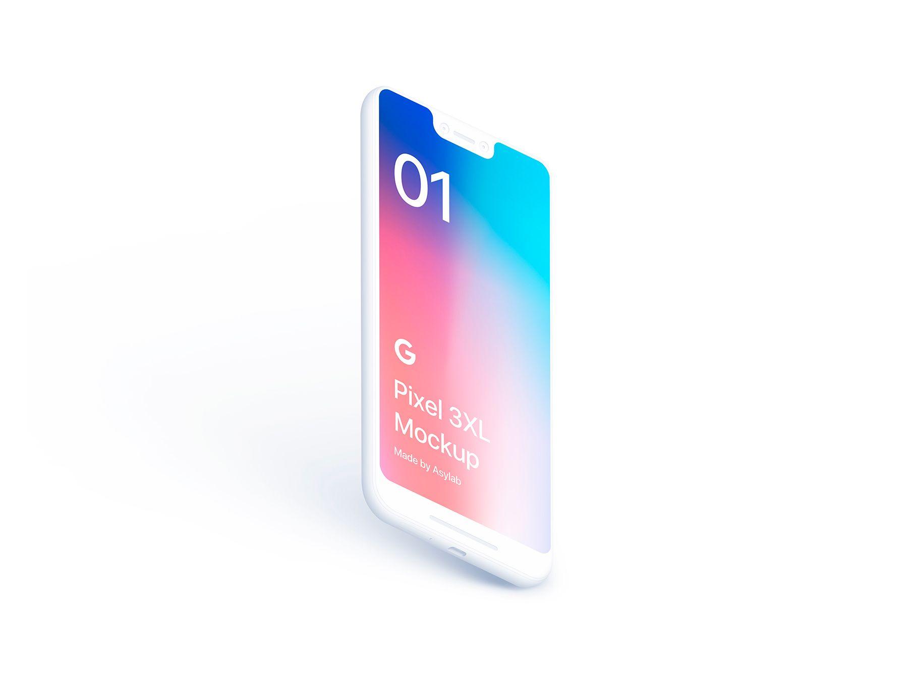 21 Google Pixel 3 XL Clay Mockups | Mockups PSD | Mockup, Ui