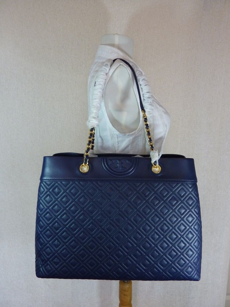 c241f96de NWT Tory Burch Royal Navy Fleming Triple Compartment Shoulder Tote $598 # ToryBurch #TotesShoppers