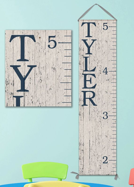Canvas Growth Chart With Whitewashed Wood Image And Pink Or Navy