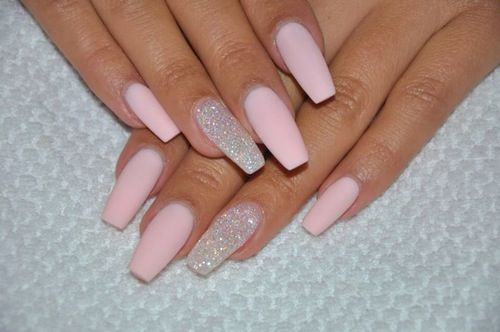 matte baby pink nails acrylic