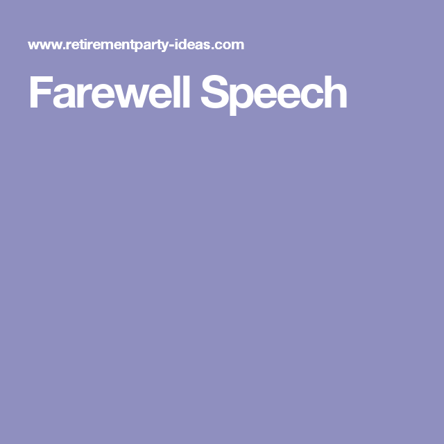 Farewell Speech for Teacher