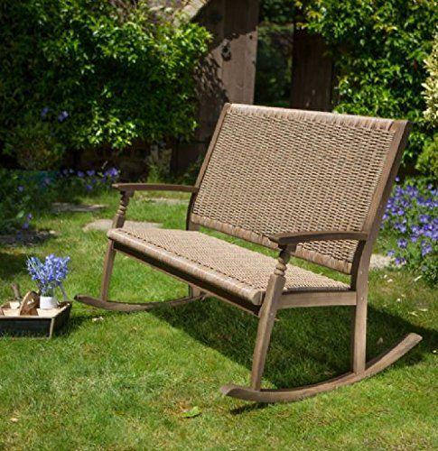 Leisuregrow Hanoi Wood And Rattan 2 Seat Rocking Bench Price Β£249 ...