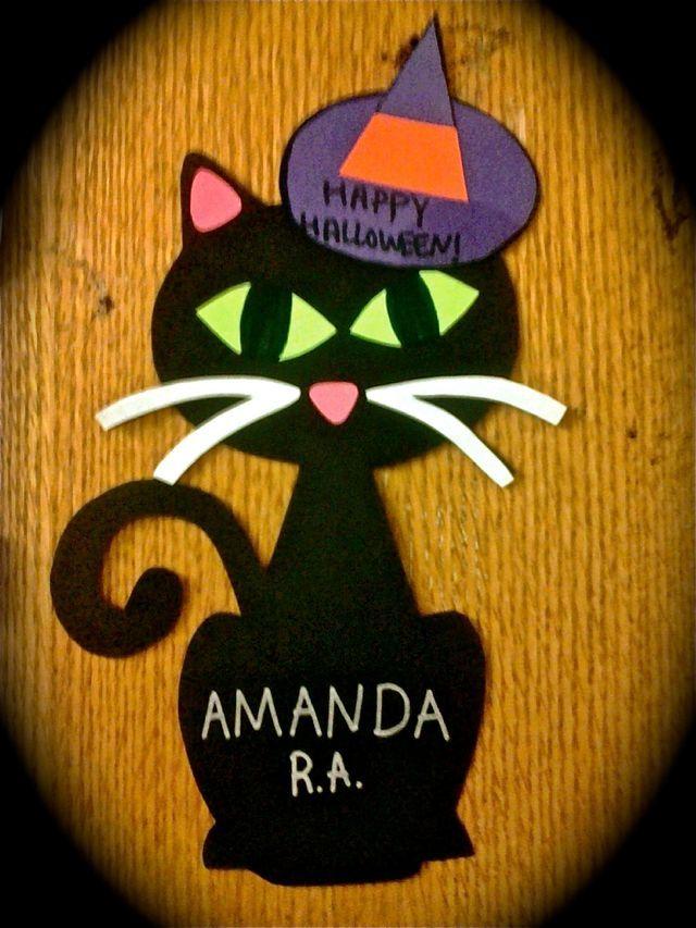 Black Cat Halloween Door Decs Halloween Door Decs Halloween Door Door Decorations College