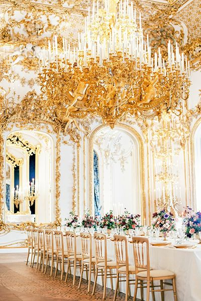 Grand, lavish, opulent — this gold space is fit for a princess bride. Ornate details channel romance and Marie Antoinette vibes.