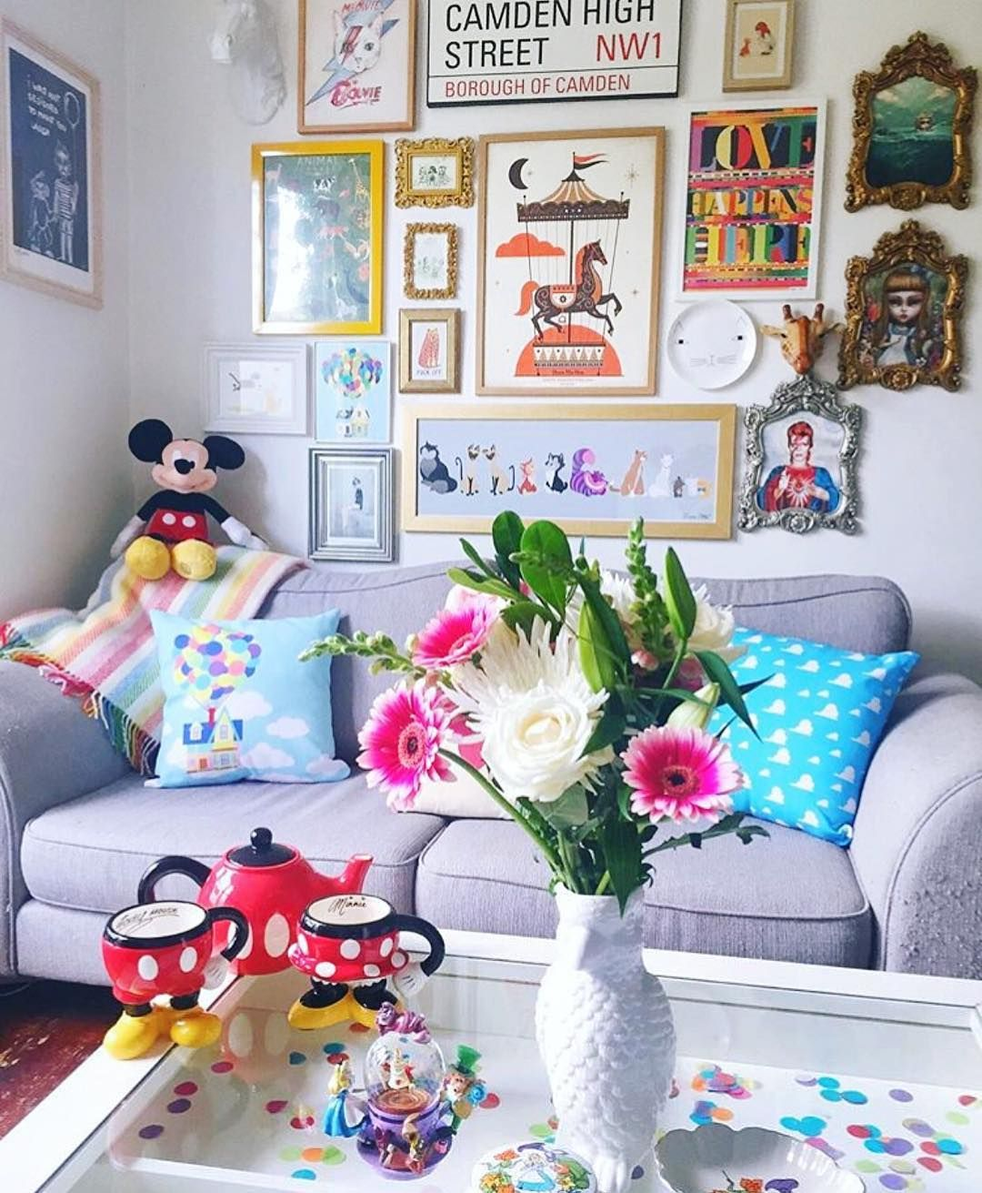 """Disney At Home on Instagram: """"Our sweet friend @joinwonderland has the most magical family room on earth, little bits of Disney magic in every corner!! Thank you for…"""""""