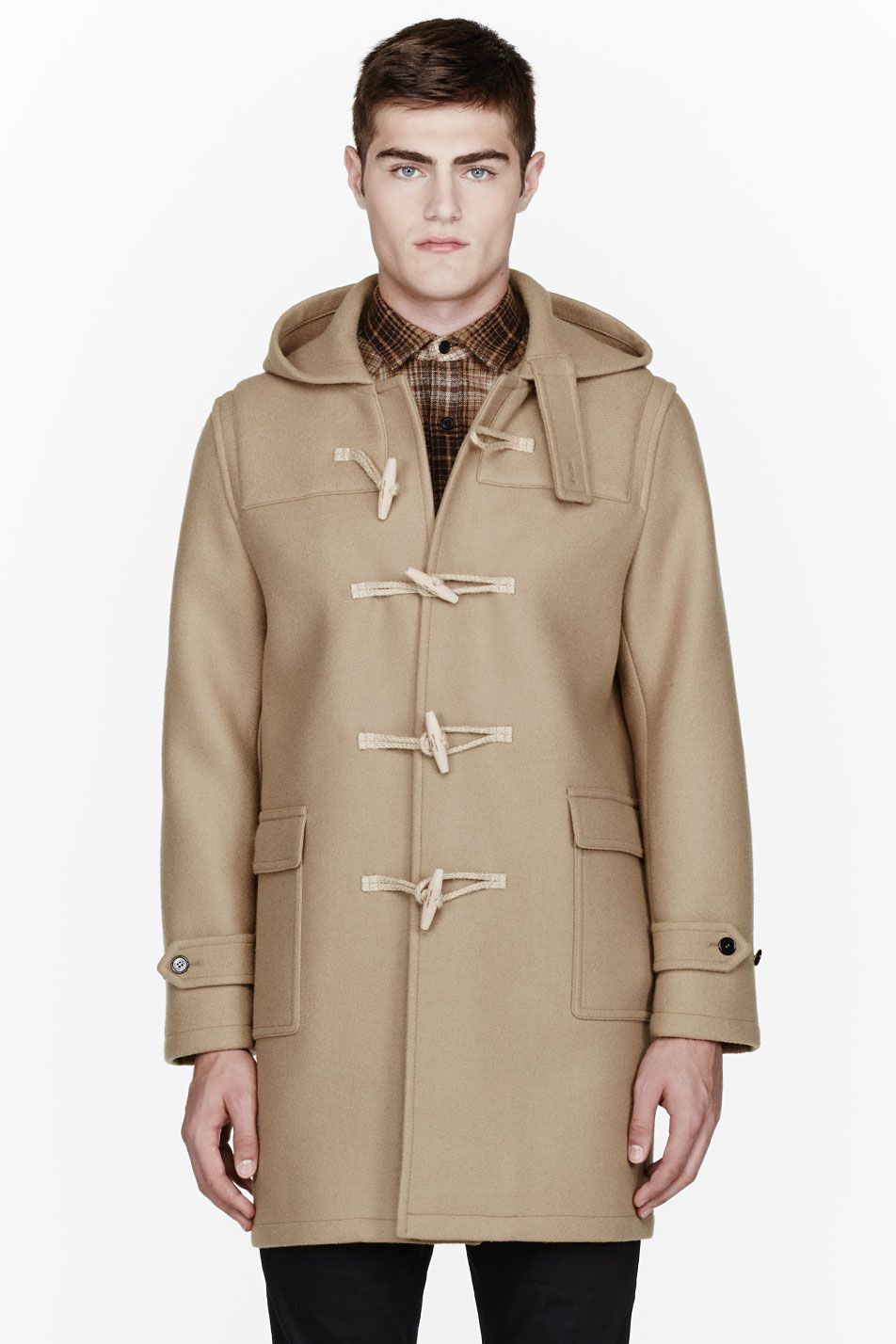 Black Down Wrap Collar Coat | Duffle coat, Camels and St laurent