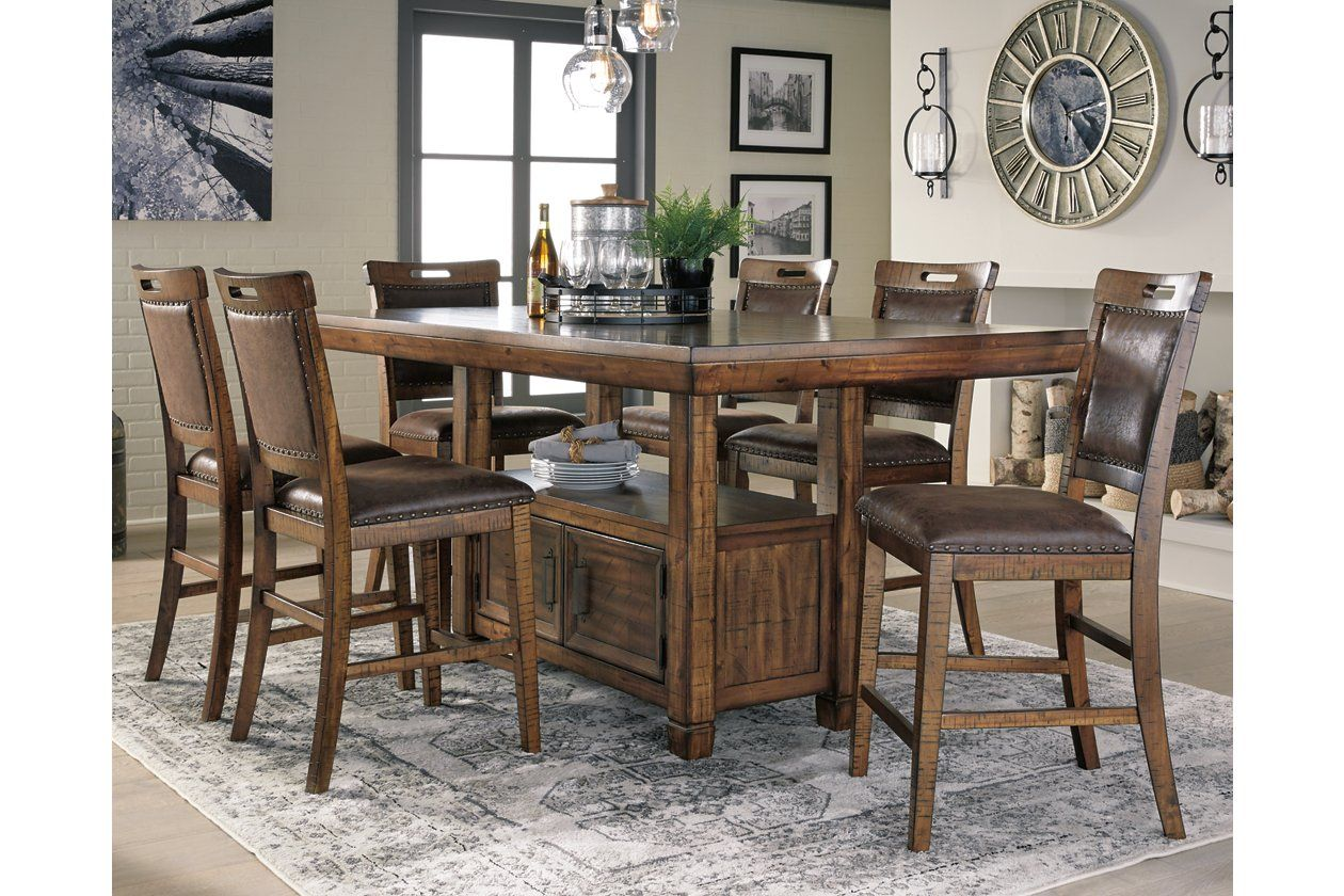 Royard Counter Height Dining Table And 6 Barstools Ashley Furniture Homestore Counter Height Dining Room Tables Counter Height Dining Table Dining Table Counter height table with 6 chairs