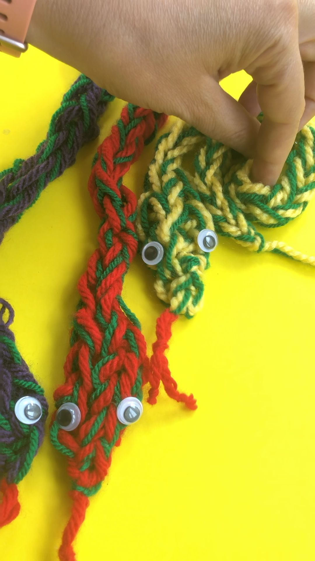 Photo of Finger Knitting Snakes – Red Ted Art