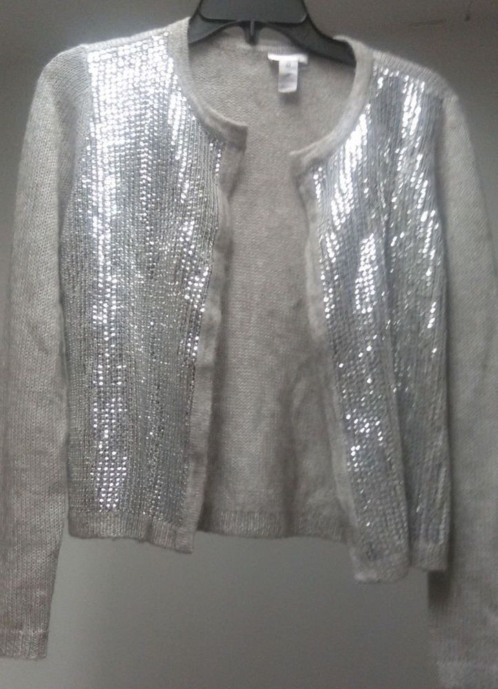Chico's 18% Wool 6% Mohair Gray Sequin Cardigan women's Lady's ...