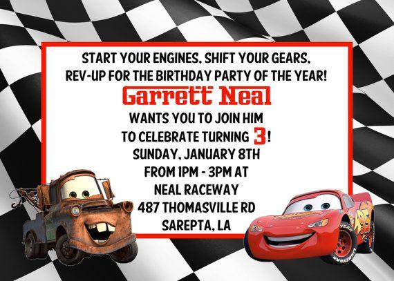 Cars Personalized Birthdayinvitation Visit My Etsy Store I Take Custom Orders As Well