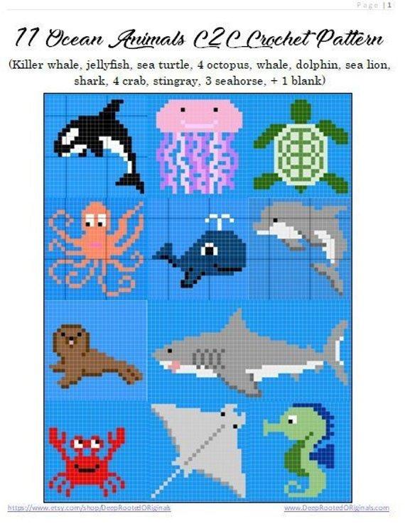 Dolphin Crochet Graph Sea Creatures