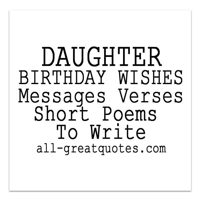 DAUGHTER BIRTHDAY WISHES Messages Verses Short Poems To Write – Short Poems for Birthday Cards