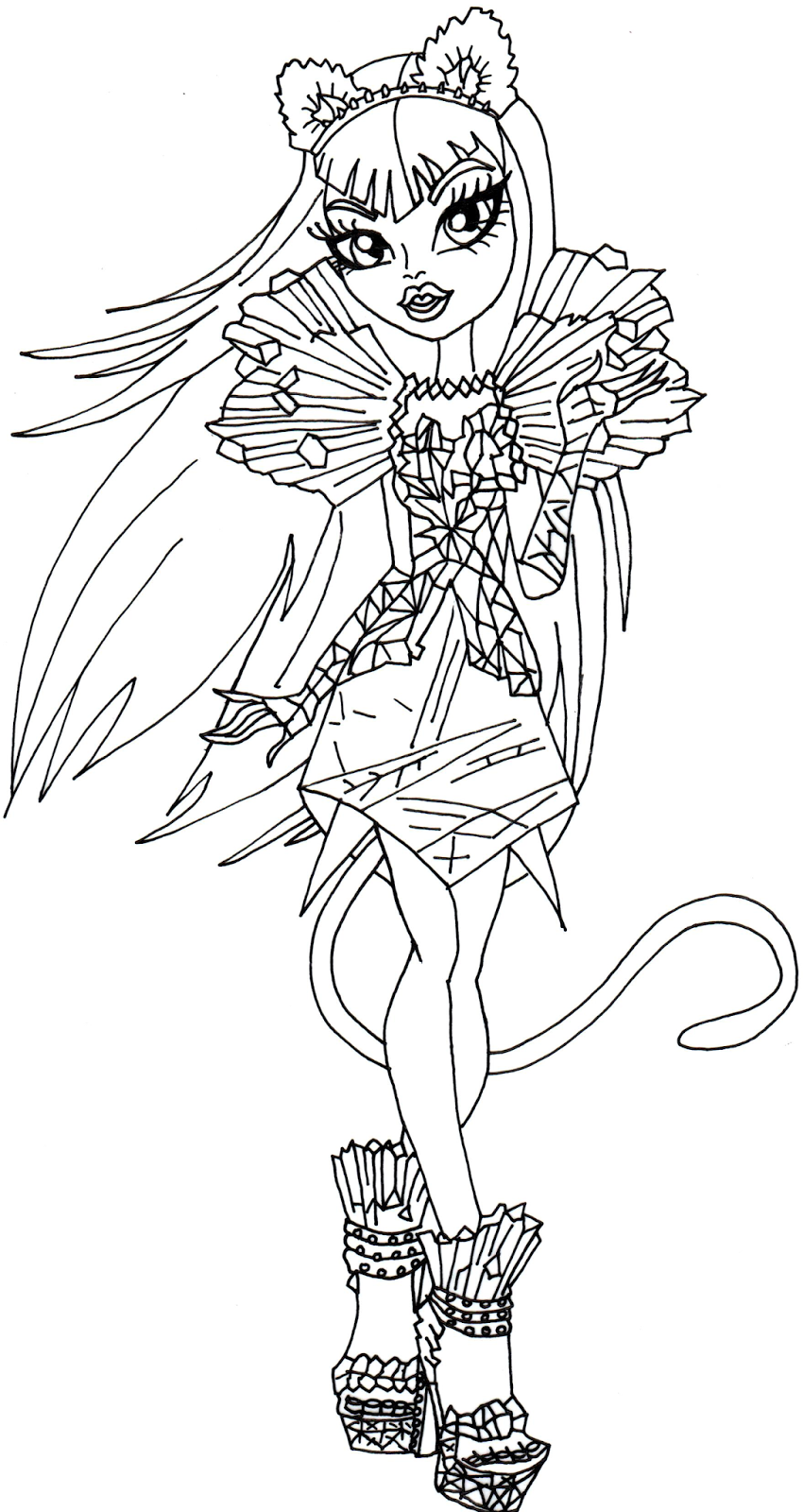 Monster High Ausmalbilder Catty Noir : Catty Noir Boo York Monster High Coloring Page Png 850 1 600 Pixels