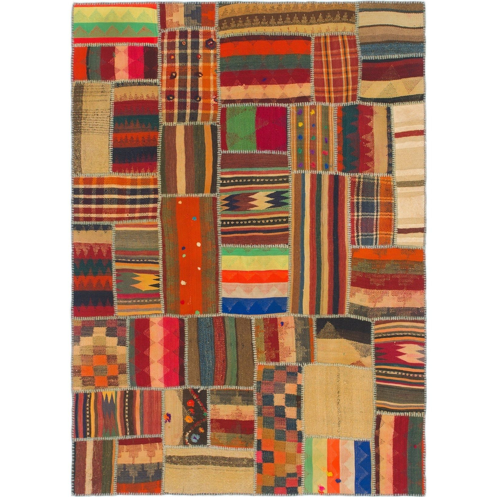 Refurbished Hand Woven Kilim Patchwork Wool Area Rug 5 X 6 10