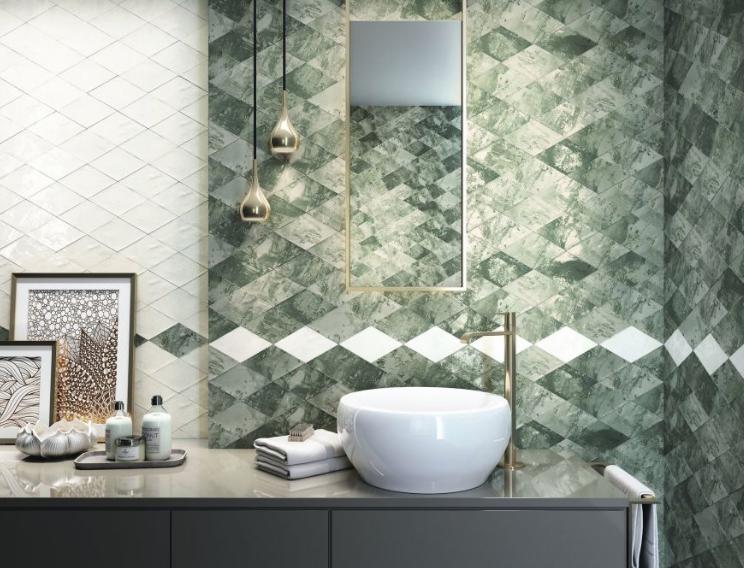 Savannah Green And White Diamonds In 2020 Ceramic Wall Tiles Bathroom Wall Tile Decorative Tile