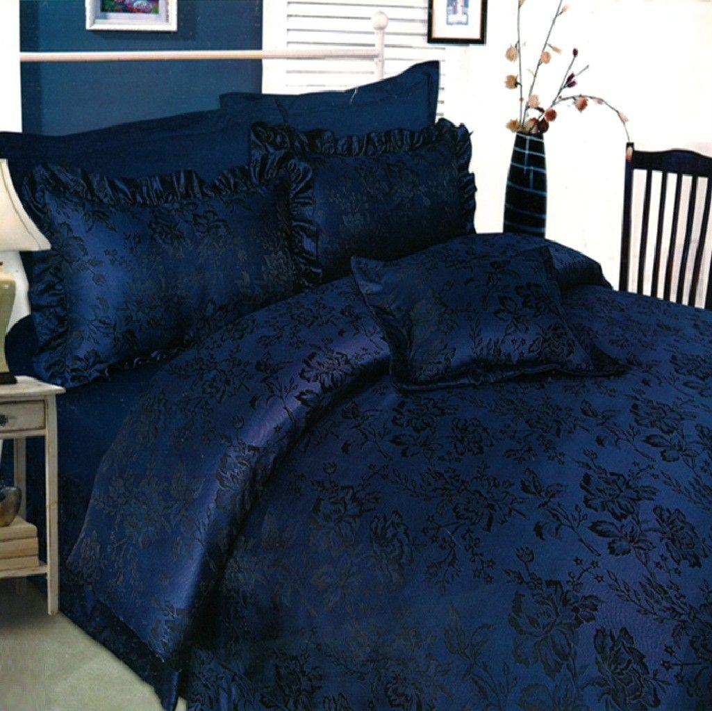 New 6 Pc Jacquard Damask Blue Black Floral Duvet Cover Bedspread