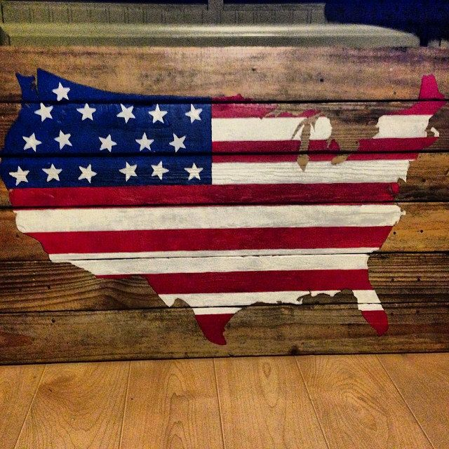 American Flag On Wood United States Of America By