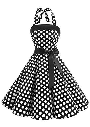 d2bbe9d3b7 Timormode Women Strapless Vestido sin mangas Retro 1950s Vintage mujer Prom  Dresses Vestido mujer Fiesta Lace-Up 10212Big Black White XS
