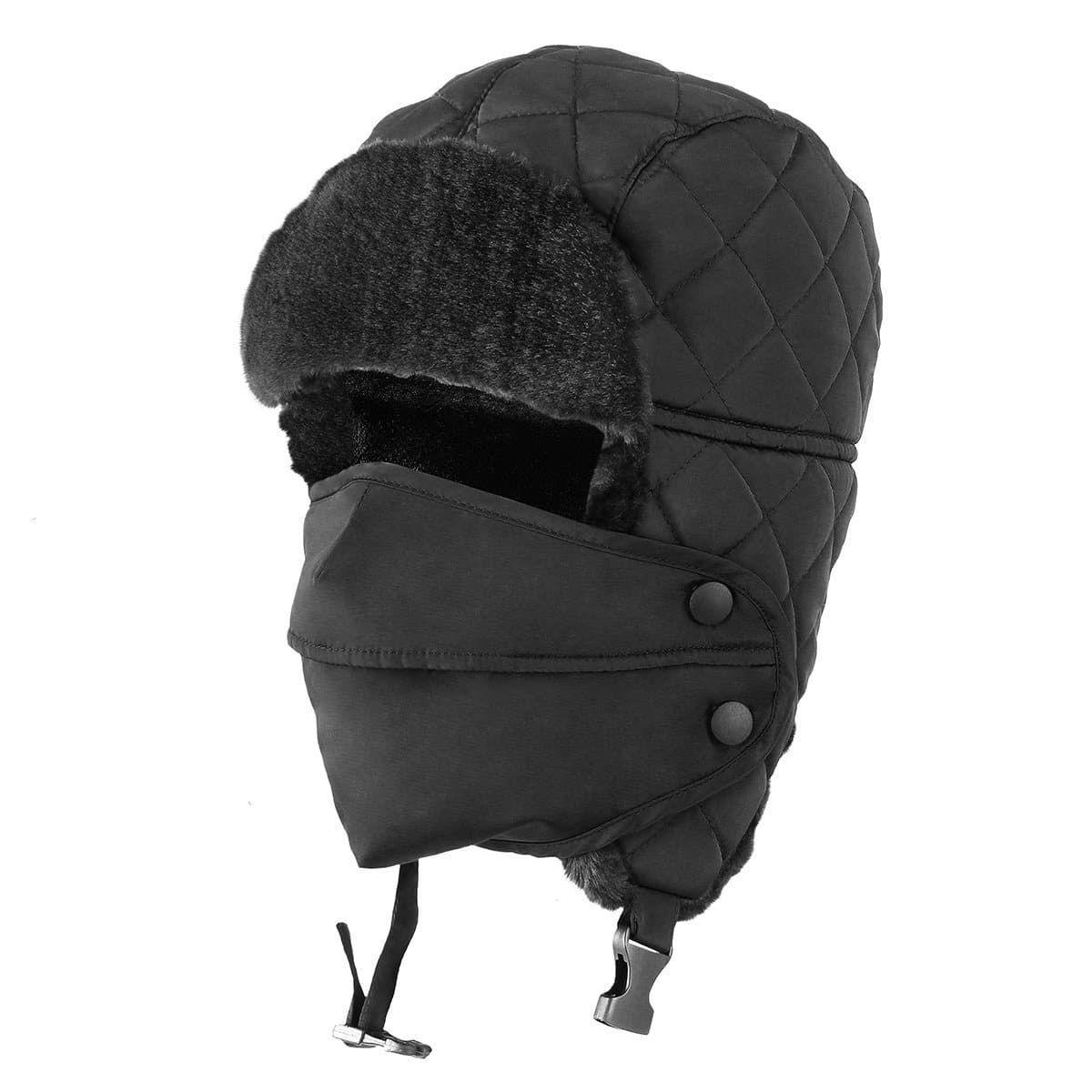 Trooper Trapper Hat w//Face Mask Windproof Water Resistant Winter Russian Hat