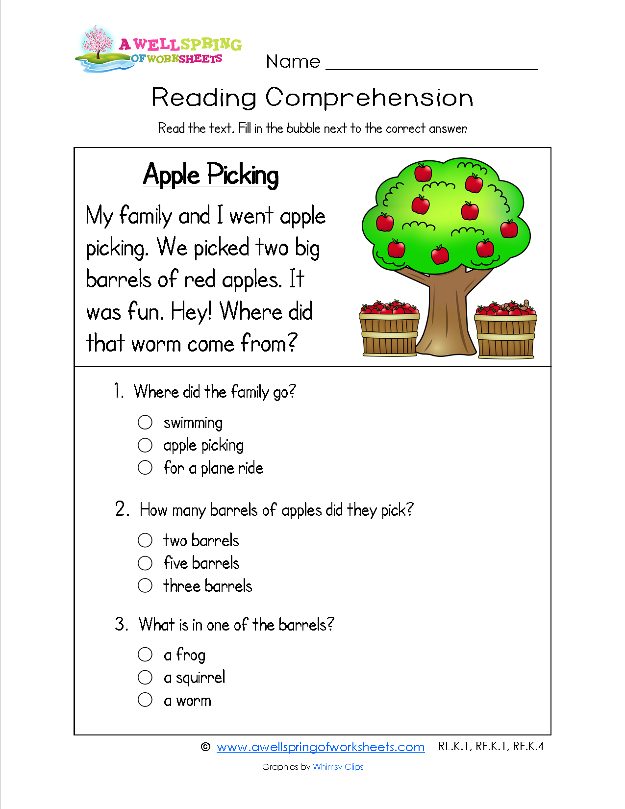 Worksheets Sentence Comprehension Worksheets a funny bug has three simple sentences and comprehension kindergarten reading worksheet about picking apples it includes four sight word rich sentences