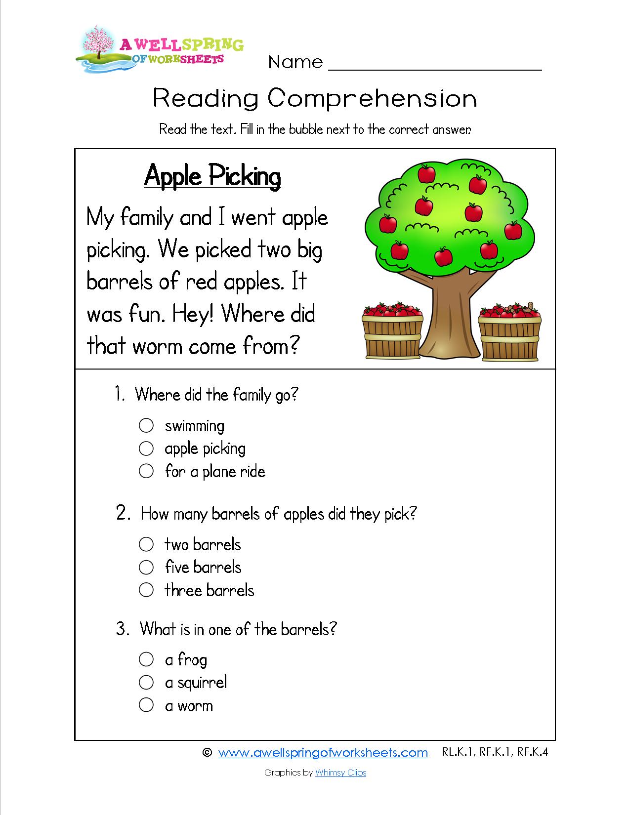 medium resolution of Grade Level Worksheets   A Wellspring of Worksheets   Reading comprehension  worksheets