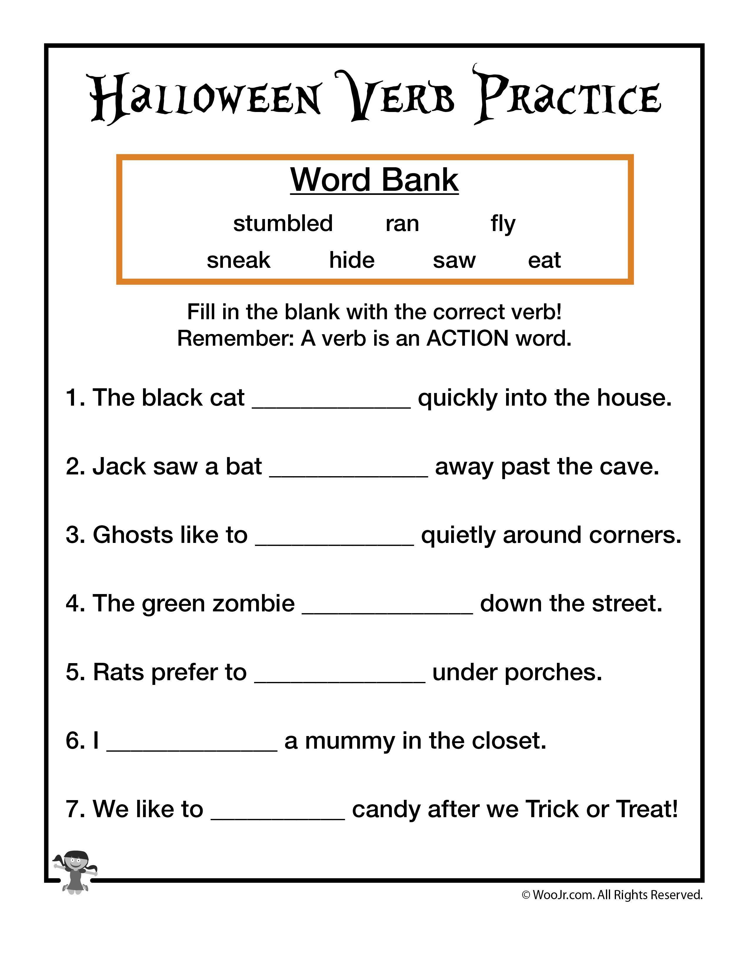 Halloween Verb Practice Worksheet