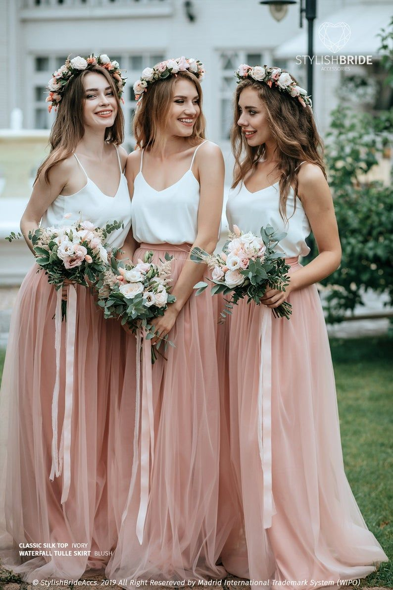 Simple Bridesmaids Separates Silk Classic Cami Top And Waterfall